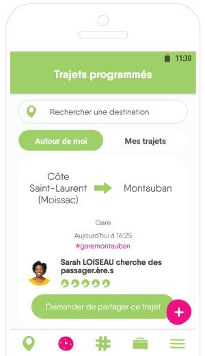 Screenshot application mobile Rezo Pouce -